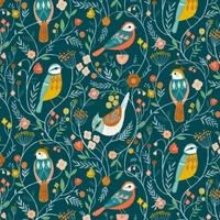 Tissu Aviary oiseaux fond paon 20 x 110 cm