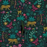 Tissu NIght Jungle fond foncé 20 x 110 cm