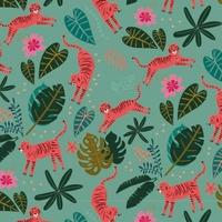 Tissu NIght Jungle panthères fond menthe 20 x 110 cm