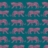 Tissu NIght Jungle panthères fond paon 20 x 110 cm