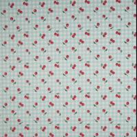 Popeline cerises fond vichy  20 x 140 cm
