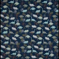 Popeline dinosaures fond marine 20 x 140 cm
