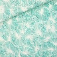 """Sweat léger """"French Terry"""" imprimé Fan Leaves coloris blanc sel de mer 20 x 150 cm"""