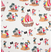 Jersey pirates fond blanc 20 x 140 cm