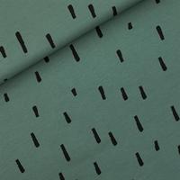 """Sweat léger """"French Terry"""" imprimé Swipes coloris vert armoise 20 x 150 cm"""