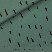 Double gaze imprimée Swipes coloris vert armoise 20 x 140 cm