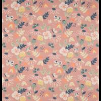 Jersey fleurs arc en ciel fond saumon 20 x 140 cm