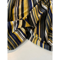 COUPON de jersey bio mini rayure bleu moutarde 1m60 x 160 cm