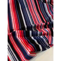 COUPON de jersey bio mini rayure bleu rouge 1m60 x 160 cm