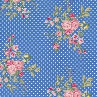 Toile enduite Flora French Blue 20 x 140 cm