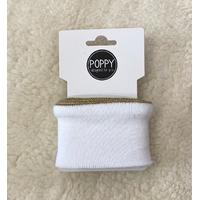 Bord-côte Poppy Cuffs Frill blanc et doré