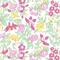 Liberty Organic Tana Lawn™ Mamie rose et jaune coloris A 20 x 137 cm
