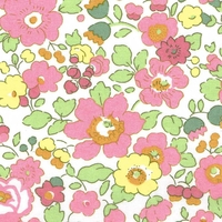 Liberty Organic Tana Lawn™ Betsy rose et jaune coloris B 20 x 137 cm