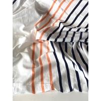 Lot de 2 panneaux de jersey fin blanc marine foncé orange clair 2 x 85 x 180 = 1m70 x 180 cm