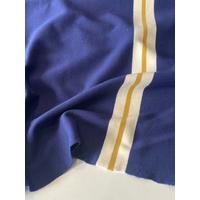 Lot de 2 panneaux de jersey épais marine bande écru moutarde 2 x 61 x 130 = 1m22 x 130 cm