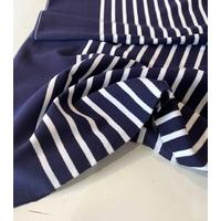 Lot de 2 panneaux de jersey épais marine et blanc / 2 x 70 x 127 cm soit 1m40 x 127 cm
