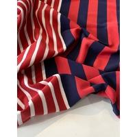 Lot de 2 panneaux de jersey épais marine brique crème / 2 x 94 x 130 cm soit 1m88 x 130 cm