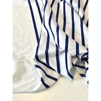 Lot de 2 panneaux de jersey fin blanc marine / 2 x 86 x 180 cm soit 1m72 x 180 cm