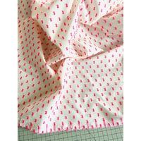 Tissu plumetis rose fluo / blanc 20 x 145 cm