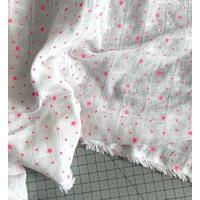 Tissu LANGE Première Etoile FLUO fond blanc 20 x 130 cm