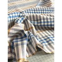 Tissu à carreaux écossais nude / bleu / moutarde 20 x 150 cm