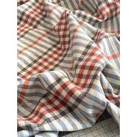 Tissu à carreaux écossais beige / rouge / bleu 20 x 150 cm