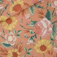 """Sweat léger """"French Terry"""" imprimé Bloom Garden coloris café crème 20 x 150 cm"""