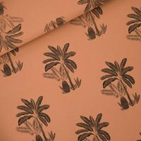"""Sweat léger """"French Terry"""" imprimé Palm trees coloris brun pécan 20 x 150 cm"""