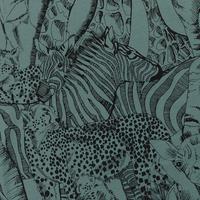 "Sweat léger ""French Terry"" imprimé Wild Animals coloris Atlantic north 20 x 150 cm"