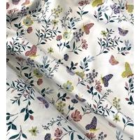 Jersey champêtre papillons fond blanc cassé 20 x 140 cm