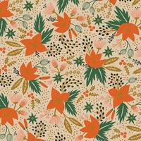Tissu lin/coton Rifle Paper Holiday Classics Poinsettia naturel 20 x 110 cm