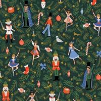 Tissu lin/coton Rifle Paper Holiday Classics Nutcracker evergreen 20 x 110 cm