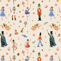 Coton Rifle Paper Holiday Classics Land of Sweets crème 20 x 110 cm
