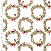 Tissu Couronnes de Noël 20 x 110 cm