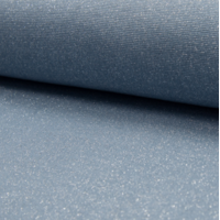 Bord côte pailleté dusty blue et argent 20 x 65 cm