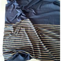 Lot de 2 panneaux de jersey épais noir profond et rayure bronze de 83 x 130 soit 1m66 x 130 cm