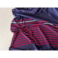 Lot de 2 panneaux de jersey fin marine blanc rouge de 80 x 165 cm soit 1m60 x  165 cm