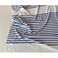 Lot de 2 panneaux de jersey épais blanc rayé bleu 62 x 130 soit 1m24 x 130 cm