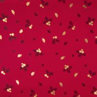 Popeline Noël gui et houx rouge et or 20 x 140 cm