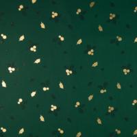 Popeline Noël gui et houx vert et or 20 x 140 cm
