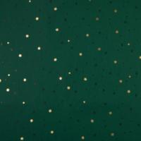 Popeline Noël étoiles vert et or 20 x 140 cm