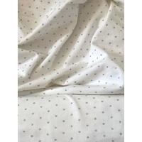 DERNIER COUPON de jersey coton blanc cassé pois argent 1m60 x 1m70