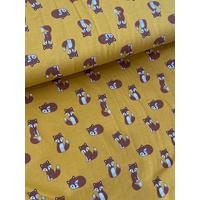Jersey renards coloris moutarde 20 x 140 cm