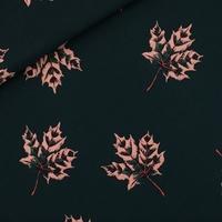 """Sweat léger """"French Terry"""" imprimé Mapple Leaves coloris Forest River 20 x 150 cm"""
