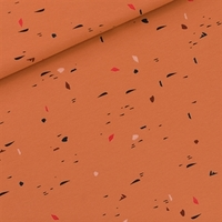 """Sweat léger """"French Terry"""" imprimé Scribbles coloris Feuilles d'automne 20 x 150 cm"""