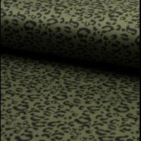 Suédine stretch panthère coloris kaki 20 x 140 cm