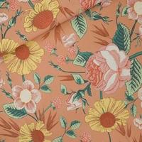 """COUPON de Sweat léger """"French Terry"""" imprimé Bloom Garden coloris café crème 2m x 150 cm"""