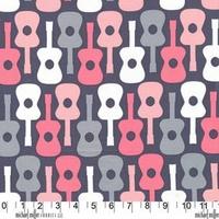 Tissu Groovy Guitar 20 x 110 cm