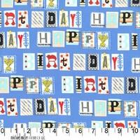DERNIER COUPON Tissu Happy Birthday Joyeux Anniversaire 1m cm x110 cm