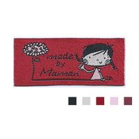 "Etiquette tissée Lalimaya ""made by Maman"" fond rouge"